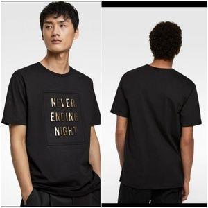 Zara raised slogan T shirt, Never Ending Night